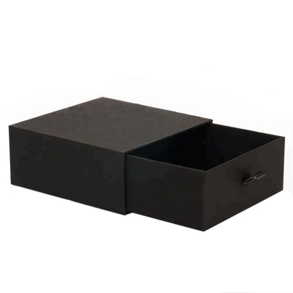 Boite à tiroir carton noir rigide pour packaging cadeau