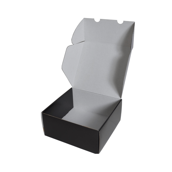 Boite à rabat à languette carton noir pour packaging d'expédition imprimable