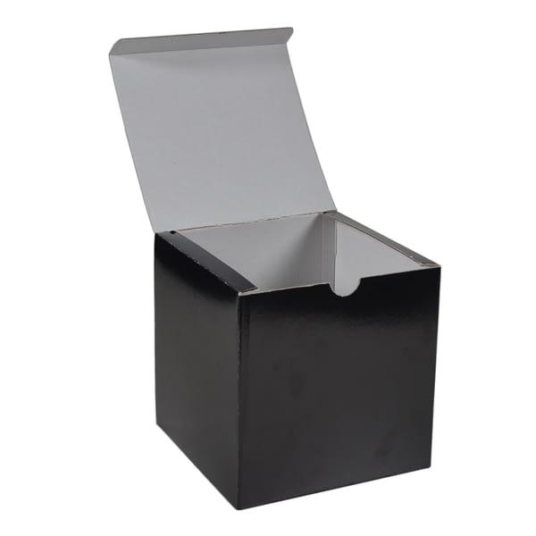 Boite à rabat carton noir pour packaging cadeau imprimable